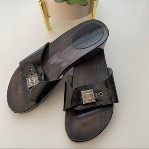 CHANEL Shoes - Chanel Wooden Black Patent Leather Sandals 39